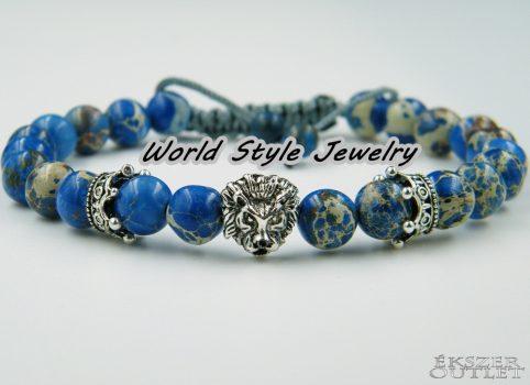 Kék regalit, korona, oroszlán, ásványgyöngy karkötő.