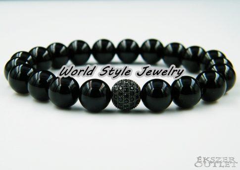 Ónix, fekete színű cirkon, ásványgyöngy karkötő.